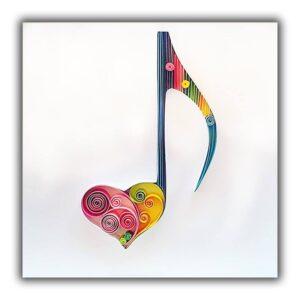 Χειροποίητο, Δώρο, Χαρτί, Τέχνη, Διακόσμηση, Κάδρο, Καρδιά, Αγίου Βαλεντίνου, Νότα, Μουσική